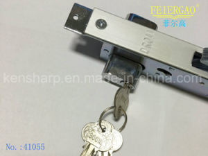 41055 Doule Side Sliding Door Lock/Hook Lock, with Brass or Zinc Cylinder, 3keys pictures & photos