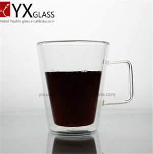 400ml Europe Style Double Wall Glass Coffee Cup Mug Tea Cup/Borosilicate Pyrex Double Wall Glass Espresso Cup with Handle pictures & photos