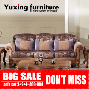 Big Sale Classical Fabric Sofa Set Traditional Home Couch with Carved Wood Trim pictures & photos