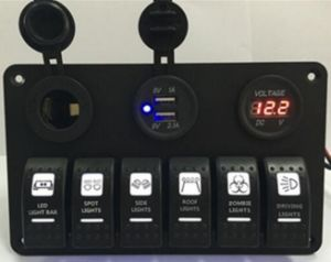 6 Gang Rocker Switch Panel with Digital Voltmeter+12V Power Socket +Double USB Power Charger Adapter Waterproof Blue LED Backlight for Car Trailer Marine Boat pictures & photos