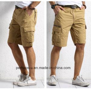 Fashion Mens Khaki Cotton Cargo Shorts pictures & photos