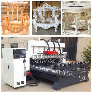4 Axis CNC Wood Carving Machine / 4 Axis Multi Head CNC Router pictures & photos