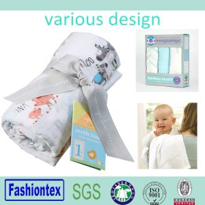 Gots Certificated Baby Blanket Swaddle Organic Muslin Cloth Sqares pictures & photos