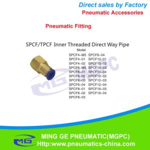 Inner Thread Direct Way Brass Pneumatic Pipe Fitting for Fast Connector (SPCF4, SPCF6, SPCF8, SPCF10, SPCF12, SPCF16)
