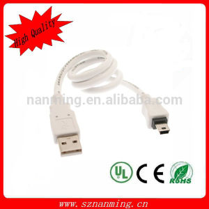 High Quality White Color Mini USB Cable # Shielded Twisted Pair Mini B USB Cable pictures & photos