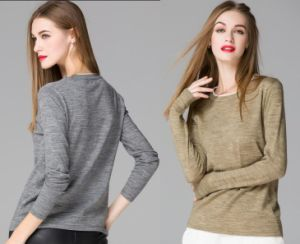 2015 Customized 80% Wool Round Collar Pullover Knitting Base Shirt Blouse in Women Clothes for Wholesale High Quality pictures & photos