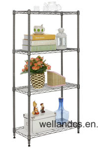 Epoxy Coated 4 Tiers Steel Home Decorate Storage Wire Shelf Shelving System with Adjustable Feet pictures & photos