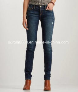 Womens Cotton/Spandex Destroyed Dark Wash Jeans Pants