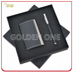 Promotion Gift Leather Card Case and Click Pen Gift Set pictures & photos