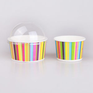 6oz Ice Cream Paper Cup with Clear Dome Lid pictures & photos
