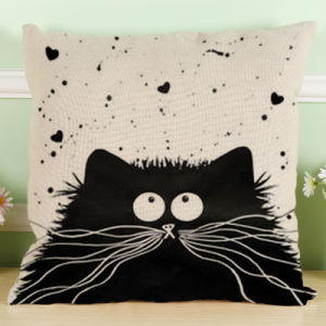 Black and White Cat Pattern Printed Cotton and Linen Pillow Sets of Car Pillow Sofa Cushions pictures & photos