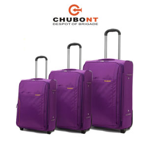 Chubont 3PCS Built-in Full Lined Two Wheels Purple Fashion Luggage Sets pictures & photos