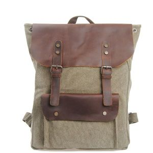 Fashion Stylish Cowhide Leather Bag Unisex School Cotton Canvas Backpack (RS-2166B) pictures & photos