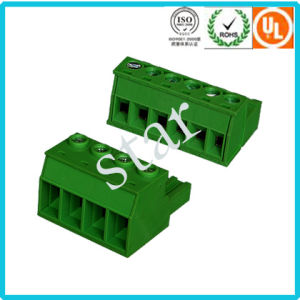 Custom 5.08 mm Pitch Pluggable 3 Pin Green PCB Terminal Block pictures & photos