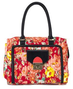 Newest Designer Lady Printed Flower Cotton Handbags (QJ-15094-C)