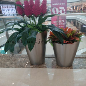 Hotel Hall Landscape Flower Planter Pot 201 304 Stainless Steel Garden Pot pictures & photos
