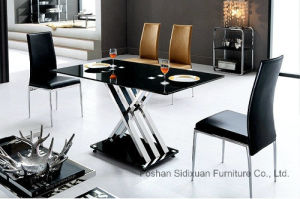 Europe Modern Black Top Cross Base Design Rectangle Dining Table pictures & photos