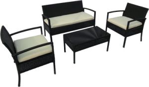 4 Pieces Black Outdoor Wicker Leisure Coffee Table Set pictures & photos