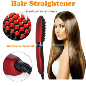 2016 New Arrive Nasv Beauty Star Hair Straightener Brush Anion Hair Straightener Brush LCD Display with Ceramic Heater pictures & photos