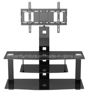 Black Glass Home Furniture LCD TV Stand with Bracket (BR-TV357)