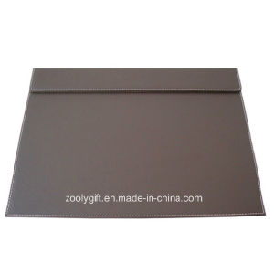 Classic Black Brown PU Leather Desk Pad with Panels pictures & photos