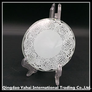 Round Tempered Glass Coaster with Lace Pattern / Coaster pictures & photos