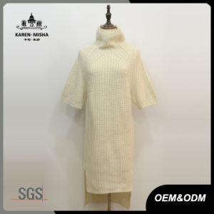 Women Turtleneck Short Sleeve Knitted Dress pictures & photos