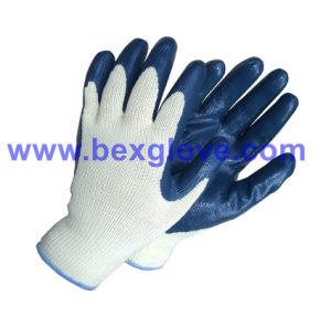 10 Gauge Polyester Liner, Nitrile Coating Safety Gloves pictures & photos