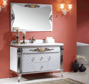 Classic Double Sinks Stainless Steel Bathroom Cabinet (T-004) pictures & photos