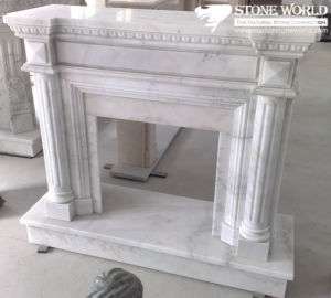 White Marble Fireplace Mantle/Mantels with Electric Fireplace for Indoor pictures & photos