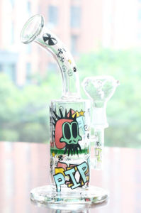 Colorful Tags Glass Water Pipes Oil Rigs 11′′ Hookahs with Bowl pictures & photos