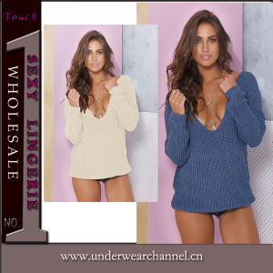 Fashion Women Deep V-Neck Pullover Sweater (TGLDS6189) pictures & photos