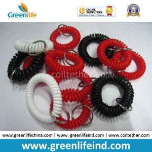 Standard White Black Red Wrist Coil Bands W/Key Ring