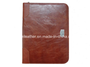Zipped PU Leather Cover Expanding File Folder pictures & photos
