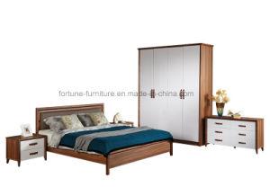 Modern Wooden Walnut & White Color 4 Droors Wardrobe (Camel 1014)