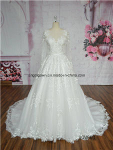 Royal Puffy Ball Gown Long Sleeve Heavy Beading Wedding Dress pictures & photos