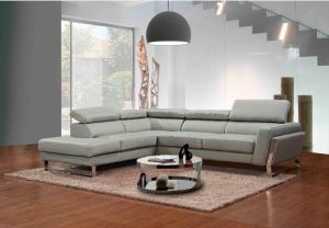 Modern Sectional Grey Sofa for Home Furniture Leather Sofa L Shaped pictures & photos