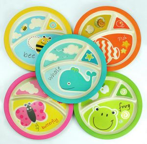 SGS Approved Natural Bamboo Fiber Biodegradable Kids Plate (YK-P30221) pictures & photos