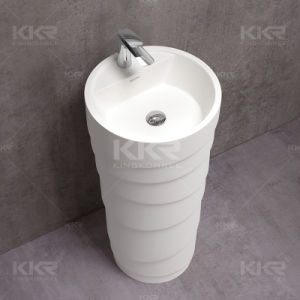 White Solid Surface Freestanding Bathroom Wash Basin pictures & photos