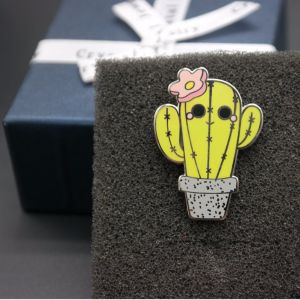 Custom Cute Cactus Shape Metal Badge Hard Enamel Lapel Pin