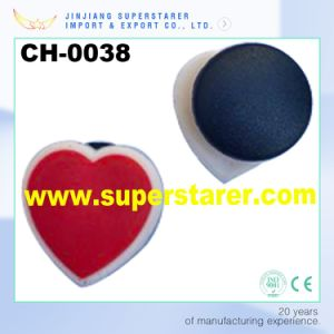 Simple Red Heart 3D Shape Rubber Shoe Charms Plastic Shoe Decorations pictures & photos