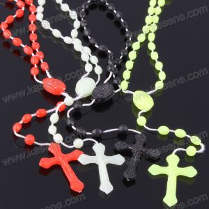 Cheap Hot Sale Knot Luminous Plastic Rosary Necklace, Cord Religious Necklace
