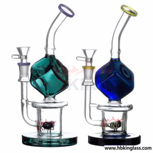 Hbking New Design Glass Water Pipes Withrhombus Percolator pictures & photos