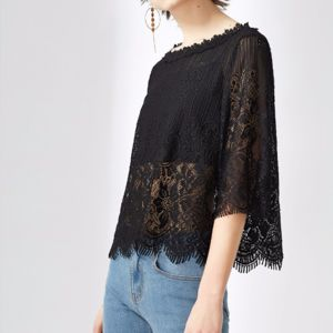 Ladies Fashion Sexy Two Piece Set Hollow Lace Chiffon Blouse pictures & photos