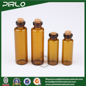 5ml 10ml Amber Color Glass Jar with Cork Stopper Glass Essential Oil Bottles pictures & photos