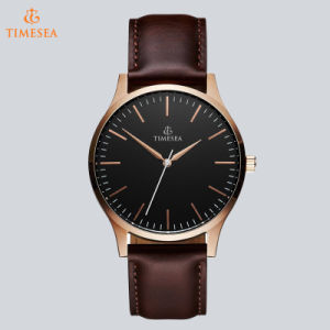 Casual Men′s Stainless Steel Wrist Wath Swiss Quality Miyota Quartz Watch with Brown Leather Strap 72791 pictures & photos