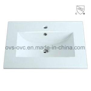 Sanitary Ware One Piece Thin Edge Ceramic Wash Basin Sink with Cupc pictures & photos
