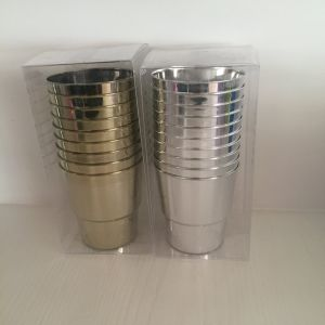 Plastic Cup, Glass, Mug, Tableware, PS, Disposable, Golden, Silver Cup pictures & photos