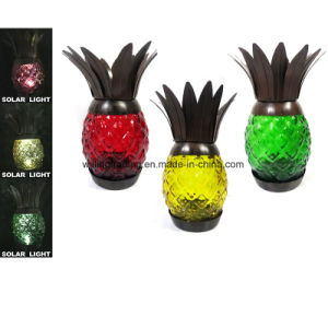 Hot Solar Light Metal W. Glass Pineapple Garden Decoration