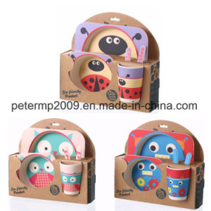 BPA Free Biodegradable Children Kis Dinner Set Bamboo Fiber Plate Set of 5 pictures & photos